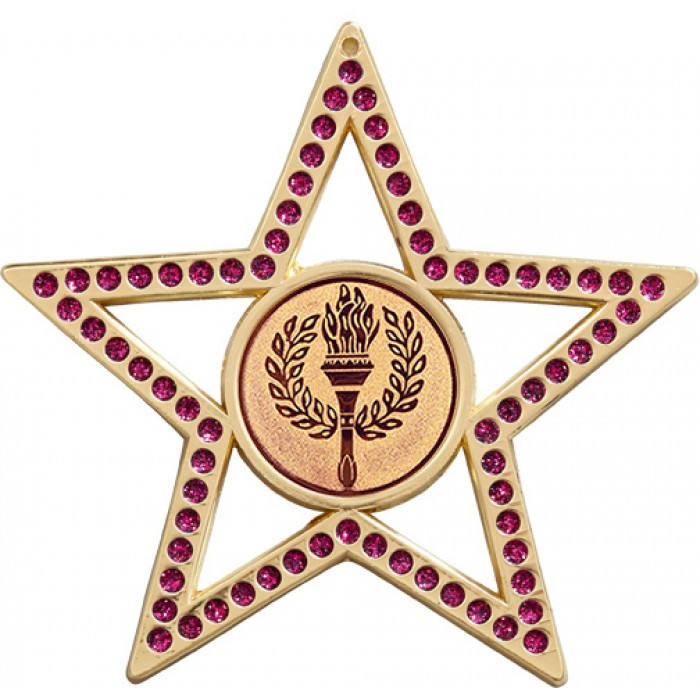 75MM PURPLE STAR MEDAL -  VICTORY TORCH  - GOLD, SILVER, BRONZE